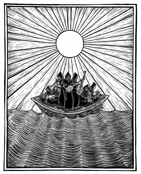 Ship of Fools Scratchboard Illustration ©2009 Son of Witz