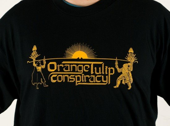 Orange Tulip Conspiracy Tee Shirt by butcherBaker aka Mike Bennewitz