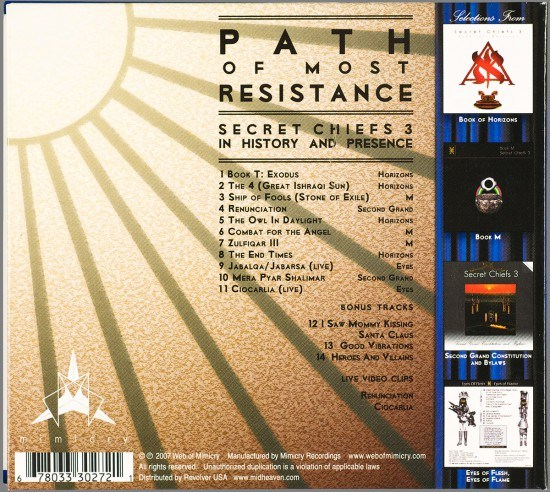 Back Cover for Secret Chiefs 3: Path of Most Resistance by Mike Bennewitz aka butcherBaker